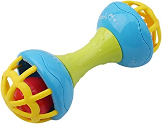 Emob Colorful Soft Plastic Rubber Hand Bell Baby Rattles Toy for Your Little One Rattle