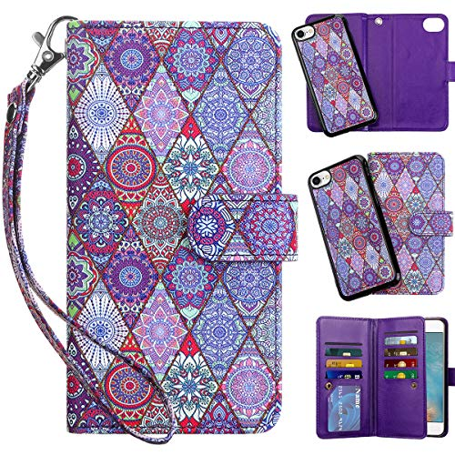 Vofolen 2 in 1 Case for iPhone 6 Case iPhone 6S Case Wallet Folio Flip PU Leather Protective Hard Shell Magnetic Detachable Slim Back Cover Wristband Card Holder Slot for iPhone 6 6S 4.7 Exotic Purple