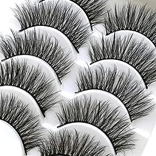 ICYCHEER 5 Pairs Mixed 3D Mink Hair False Eyelashes Natural False Eyelashes Fluffy Fake Eyelashes Dramatic Look Eyelashes Extension Makeup Long Handmade Soft Thick Lashes Resuable (53)