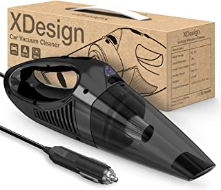 XDesign Car Vacuum Cleaner with High Power Suction for Quick Car Cleaning Care, DC 12V Portable Auto Handheld Vacuum with Reusable Stainless Steel HEPA Filter/LED Light/14.6FT Cord - Black