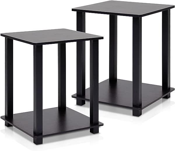 Furinno 12127EX BK Simplistic End Table Espresso Black Set Of 2