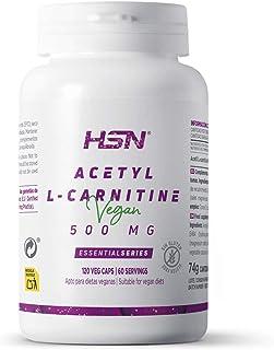 Acetil L Carnitina de HSN | 500mg | ALCAR: Producción de Energía + Perder Peso + Función Cognitiva (Nootrópico) | Vegano, Sin Gluten, Sin Lactosa, 120 Cápsulas Vegetales