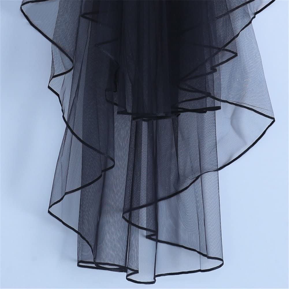 Aimeely Short Multilayer Black Veil With Comb Simple Wedding Halloween Accessories
