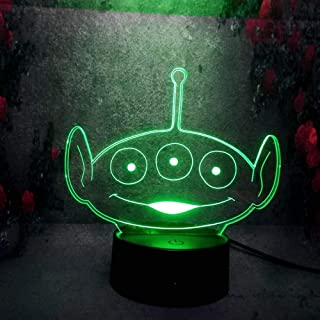 3D Optical LED Night Light for Kid Toy Story Squeezy Toy Aliens 7 Color Change Remote Control Desk Table Home Decorative USB Base Charge Battery Powered