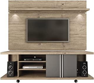Manhattan Comforts Carnegie Stand and Park 1.8 Floating Wall TV Panel, 71Lx17.1Wx73H, Nature and Onyx