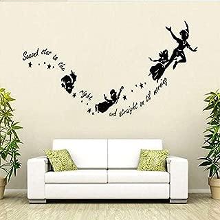 Sdefw Wall Stickers Peter Pan Wall Sticker Tinkerbell Star DIY PVC Wall Decal Kids Room Nursery Mural