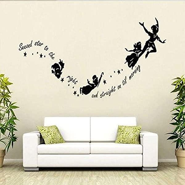 Sdefw 墙贴彼得潘墙贴叮当小仙女星星 DIY PVC 墙贴花儿童房幼儿园壁画