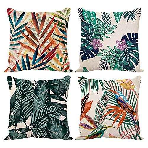 4 piezas Fundas de cojín de hojas tropicales, Funda de algodón lino hojas verdes de almohada selva tropical, fundas de almohada hojas de palmera para dormitorio, decoración de fiesta interior