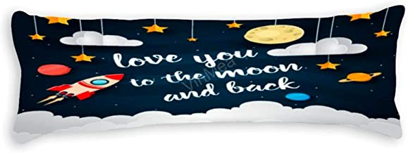 Soft Body Pillow Case Cover Love You to The Moon and Back Long Body Pillow Cover Pillowcase 20x60 Inch