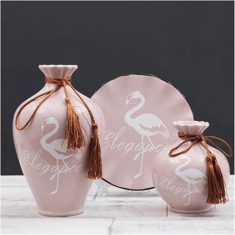 Vase en céramique Cabinet de vin TV Décoration de table basse Artisanat en céramique Costume trois pièces Convient pour le salon, bureau, maison, décoration de pièce modèle, bureau ou comme cadeau