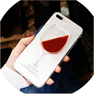 Hard Liquid Fluid Red Wine Glass Case for iPhone 7 8 Plus Transparent Phone Case for iPhone SE 5 5S 6 6S Plus 7 Plus Back Cover,for iPhone SE