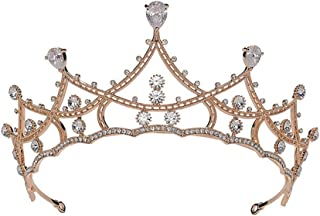 SAPU Crystal Baroque Queen Crown - Vintage Princess Tiara, Wedding Prom Pearl Hair Accessories for Women and Girls