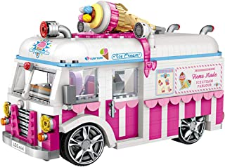 Dayloveme 1244pcs Block Mini Model Toy Block Ice Cream Truck Pink Car Cake Bus Truck