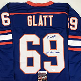 Autographed/Signed Doug Glatt The Real Goon Doug Smith Halifax Highlanders Blue Hockey Jersey JSA COA