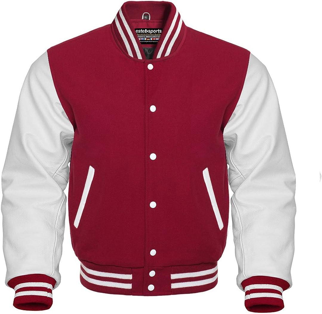 Original American Varsity Letterman Jacket Maroon Wool Blend & Genuine White Leather Sleeves