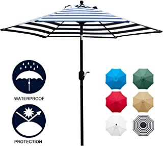 Sunnyglade 7.5` Patio Umbrella Outdoor Table Market Umbrella with Push Button Tilt/Crank, 6 Ribs (Blue and White)