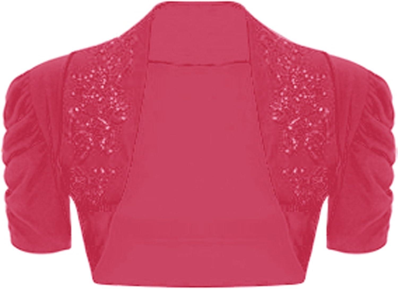 GirlsWalk Women's Short Ruched Sleeves Beaded Bolero Shrug Top
