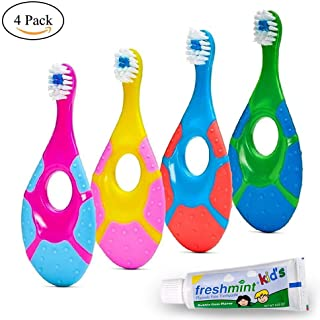 ECOVONA- Baby Toothbrush for Infants & Toddlers 0-2 Years Old (4 Pack) | Bonus Fluoride Free Toothpaste Included | Teething Handle with Finger Hole & Extra Soft Bristles | Flexible BPA Free Plastic