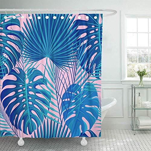 GABRI Duschvorhang-Neon farbige Tropische exotische Palme & Monstera-Blätter auf abstraktem rosa blauem Duschvorhang-Satz