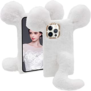 CESTOR Souris Queue Peluche Coque pour iPhone XR,Femmes Mignon Hiver Chaud 3D Fourrure de Lapin Velu Peluche Étui Souple S...