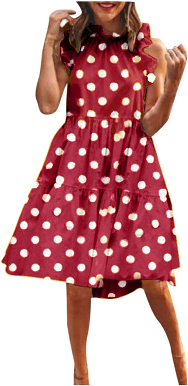 Big Polka Dot Mini Dress for store Mock Summer Max 52% OFF Women B Sleeveless Neck