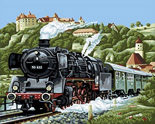 YEESAM ART DIY Ölgemälde Malen nach Zahlen Erwachsene Kinder, Zug Spur Landschaft Zahlenmalerei ab 5 Öl Wandkunst (Zug, mit Rahmen)