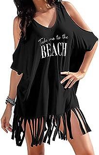 Auifor, ◕‿◕Borde de Mujer con Estampado de Letras, Traje de baño Suelto Bikini Cover - UPS Beach Dress