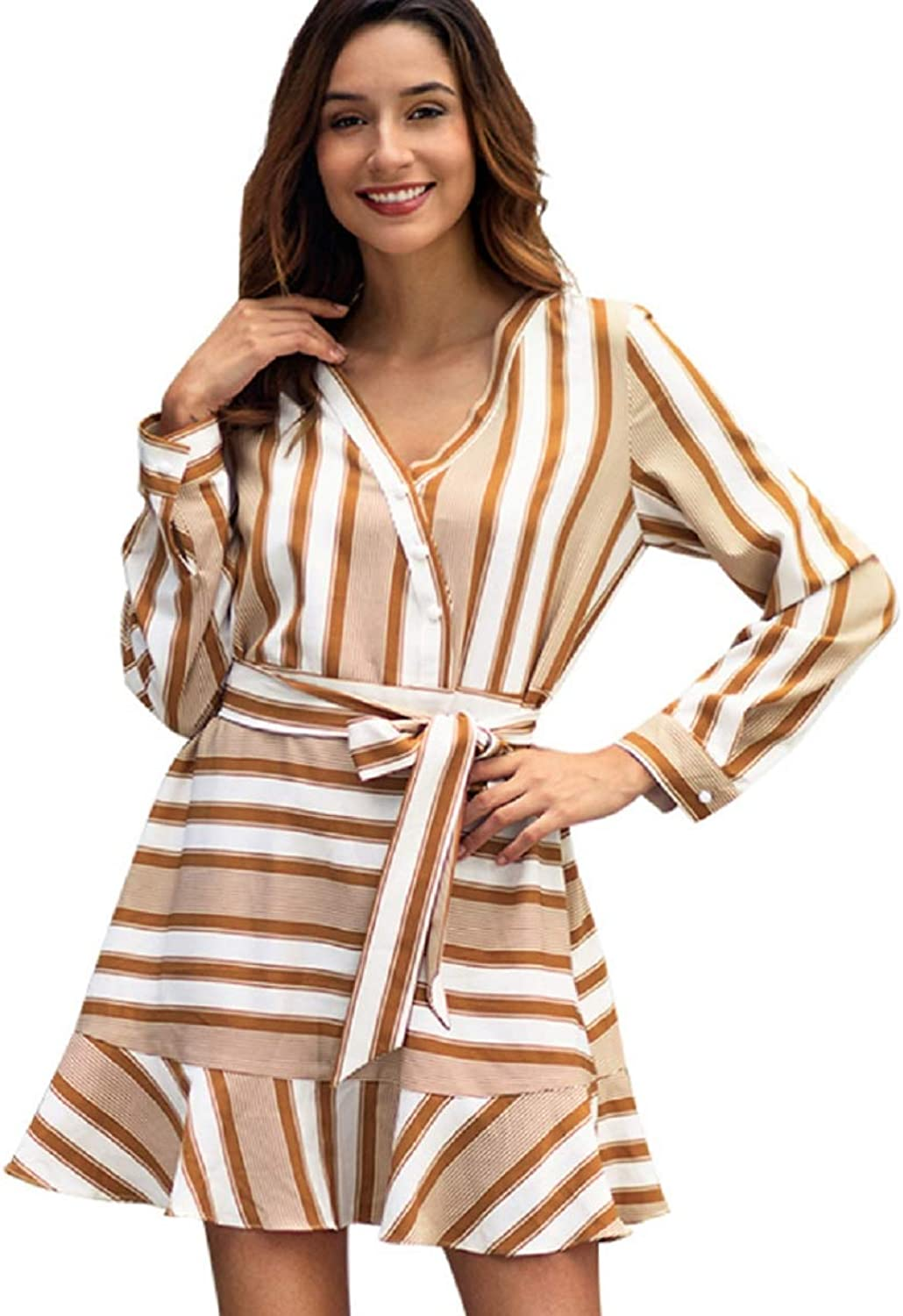 V Neck Stripe Long Sleeve Shirt Skirt Casual Beach Holiday Lace-up Women's Dress