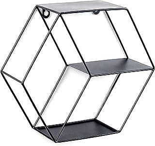 NEWSEE 六角形壁掛けラック 小物収納 シェルフ 錆びない金属製 丈夫な材質 釘付き インテリア収納 (黒)