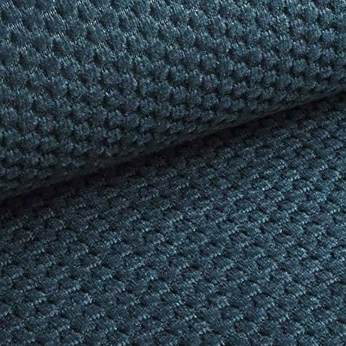 NOVELY® MAKAO moderner und kuscheliger Möbelstoff mit 3D-Wabenmuster ULTRAWEICH (11   Saphir Blau)