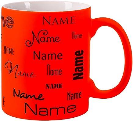 Preisvergleich für Herz & Heim® Neon Tasse mit Namen - Farbe Orange - Aufdruck des Namens in verschiedenen Schriftarten