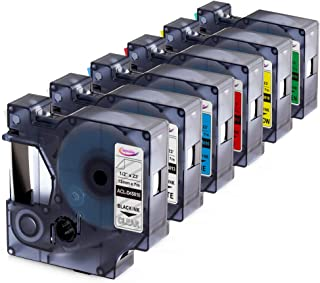 Anycolor Compatible Label Tape Replacement for DYMO 45013 45010 45016 45017 45018 45019 Label Maker Tape Work with DYMO 160 280 PnP 360D 210D Labeler, 0.47 Inch (12mm) Width, 23 Feet Length, 6-Pack