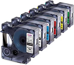Anycolor Replacement for DYMO D1 Label Tapes Color Combo Set Equivalent DYMO 45010 45013 45016 45017 45018 45019 Compatible with DYMO LabelManager 160 280 420P PnP 220P 360D 450 210D, 6-Pack