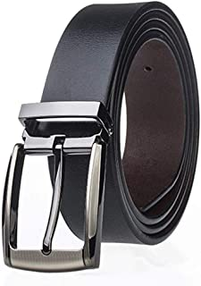 Men's Belt Genuine Leather Reversible Belt With Anti-Scratch Pin Buckle Mens Casual Jeans Belt (Color : Black, Size : 115cm)