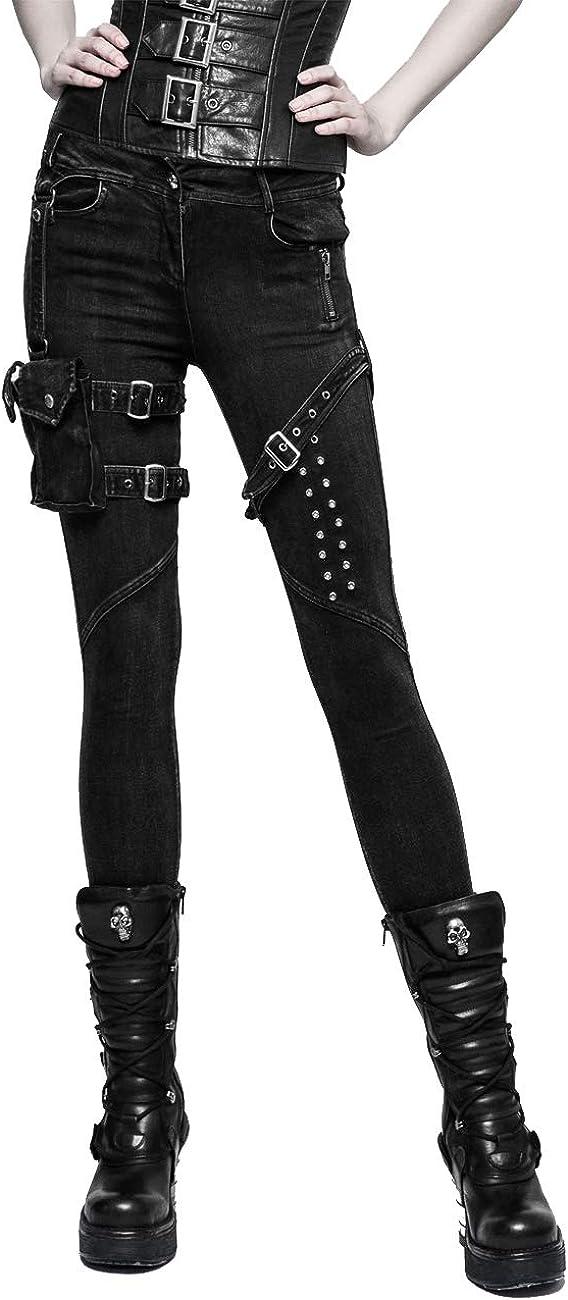 Punk Rave Gothic Women's Black Steam Punk Casual Long Pants with Removable Belt Bag