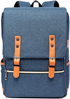CHENDX Handbags New Fashion Men and Women Unisex Personality Retro Canvas Big Outdoor Travel Backpack (Color : Blue, Size : 40cm*30cm*12cm)