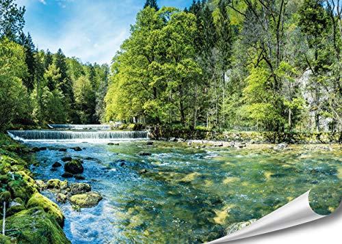 PMP-4life - Póster de arroyo | 140 x 100 cm | alta resolución | Cuadro XXL de pared natural póster XL | Póster fotográfico grande | Paisaje, árboles, arroyo, cascada