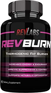 Rev Labs   Rev Burn   Thermogenic Fat Burner   The #1 Ground Breaking Fat Burning Amplifier Diet Pill for Men and Women, Carb Blocker & Appetite Suppressant, Weight Loss Pills, 60 Cap