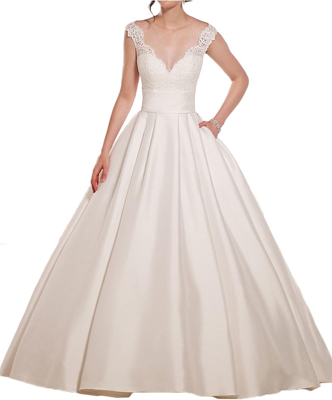DressyMe Women's Vintage Wedding Dresses for Bride with Pocket VNeck Lace