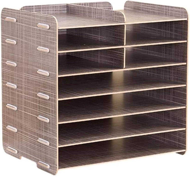 DIY Multilayer Desktop Organiser Adjustable Files Rack Bookshelf for Home Office Supplies Removable(34  25  33cm) (color    1)