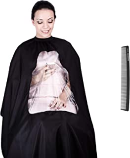 hiLISS Transparent Hair Cutting Cape Salon Barber Gown with Viewing Window, Comes with a Free Gift PRO CB1 Carbon Comb