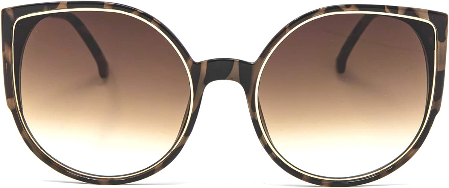 EVEE Oversize Flat CatEye Retro Sunglasses with Metal Rim Accent Front and Reflective Lens (Piper)