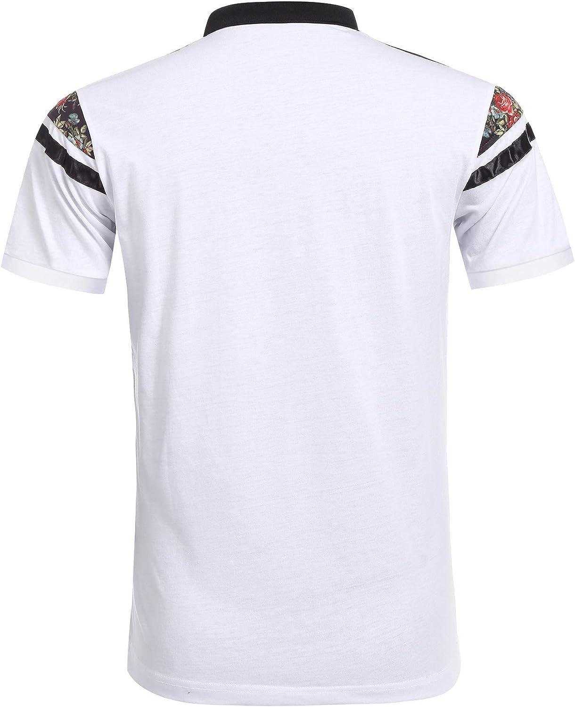 COOFANDY Mens American Flag Polo Shirt Floral Print Short Sleeve Polo T-Shirts