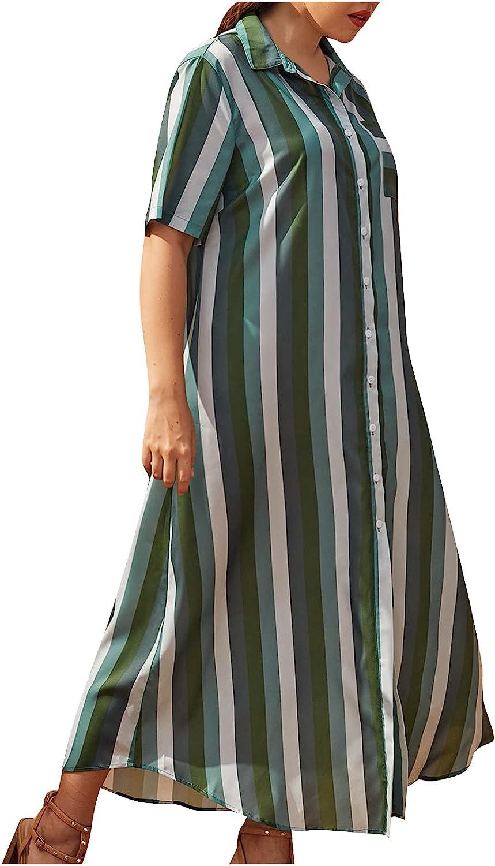 Summer Dresses Women Striped Cardigan Dress Suit Collar Short Sleeve Casual Long Dress