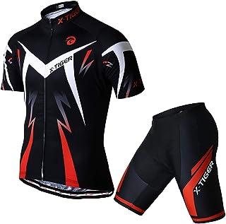 مجموعه دوچرخه سواری مردانه X-TIGER ، مجموعه آستین کوتاه دوچرخه سواری با شلوار خالی 5D ژل ، مجموعه لباس دوچرخه سواری برای دوچرخه جاده MTB