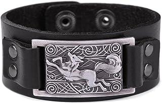 comprar comparacion Lemegeton - Pulsera para hombre, diseño de lobo de zorro vikingo, diseño de nudo celta, estilo vintage, punk, retro, joyería