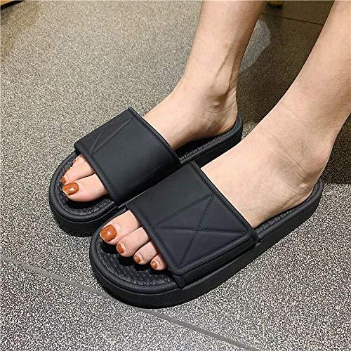 ypyrhh Sandalias Moda Casual,Sandalias de Interior para el hogar,Pantuflas de Fondo Suave-Negro_40-41,Zapatillas de Estar por Casa de Mujer/Hombre