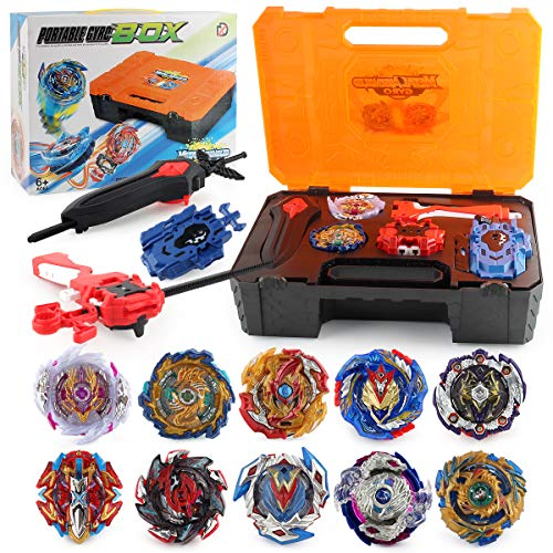 PWTAO Bey Battling Top Burst Launcher Grip Toy Blade Set Game Storage Box Case 10 Top Burst Gyros 3 Launchers Great Birthday Present for Boys Children Kids