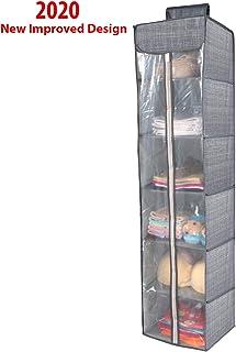 HOKIPO® Non-Woven Cloth Hanging Storage Wardrobe Organizer with PVC Zippered Closure, 6 Shelves