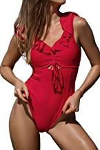 CUPSHE Women's Ruby Red Ruffled Back Tie One Piece Swimsuit